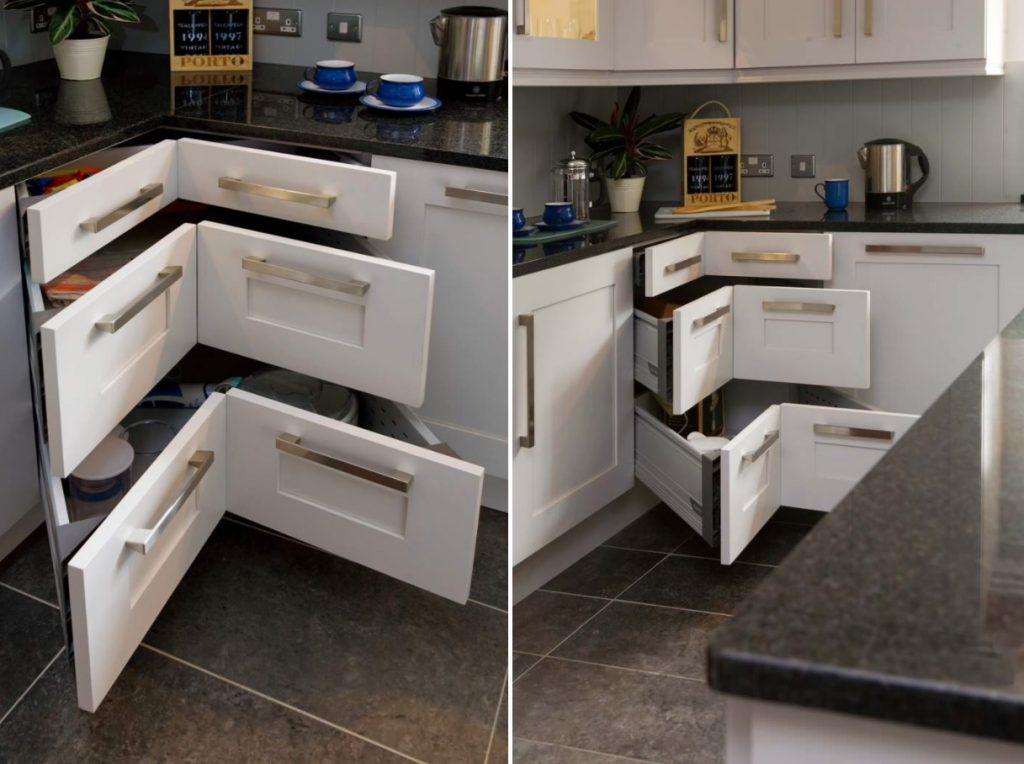 szafka narożna w małej kuchni jako szuflady
